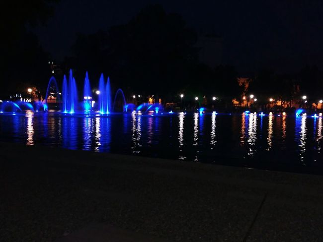 The Singing Fountains Night Lights Night City Plovdiv2019 Colorful Colorsplash Water Outdoors Fresh On Eyeem  Relaxing White Color Blue Color Showcase June Overnight Success