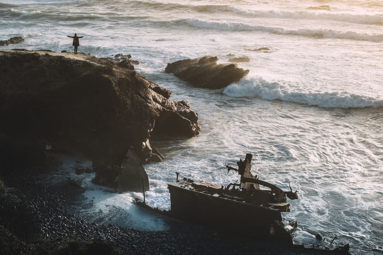 High angle view of shipwreck at beach