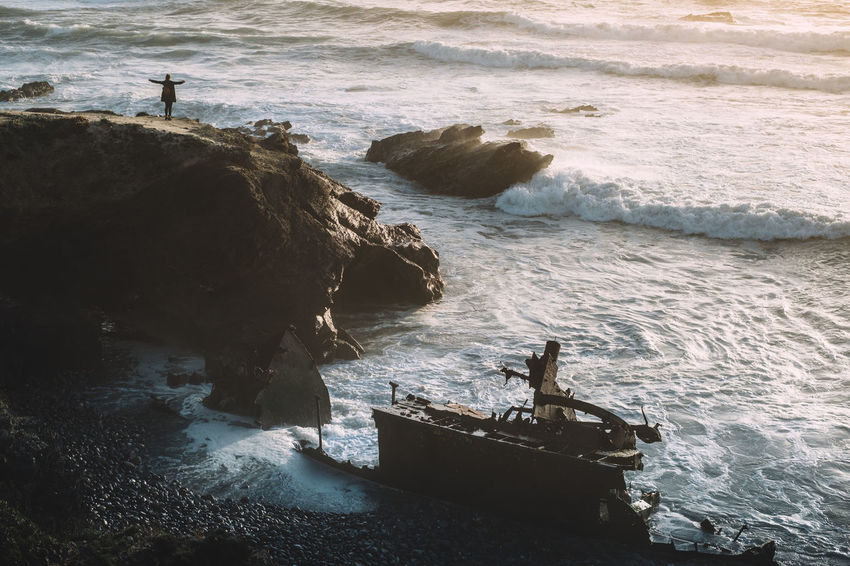The Smuggler's Shipwreck Cliffs Epic Travel Photography Adventure Beauty In Nature Coast Go Higher Motion One Person Power In Nature Sea Shipwreck Water Wave