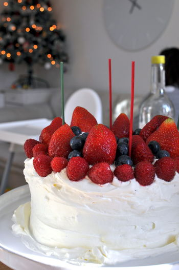 A Christmas cake with strawberries, rasberries and blueberries. Christmas Christmas Cake Baked Berry Fruit Blueberries Blueberry Cake Close-up Dessert Food Food And Drink Fruit Fruitcake No People Plate Rasberries Raspberry Ready-to-eat Red Ripe Strawberry Sweet Sweet Food