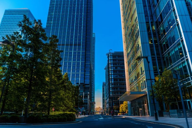 Low angle view of buildings and trees against blue sky