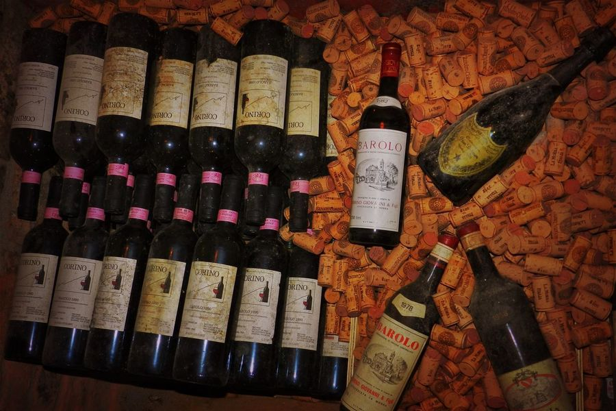 Piemonte, Italy Abundance Alcohol Arrangement Backgrounds Choice Close-up Corks Day Drink Food And Drink Full Frame In A Row Indoors  Large Group Of Objects Multi Colored No People Redwine Variation Wine Winebottles