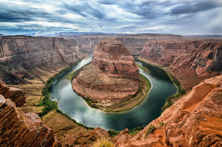 Water Tranquil Scene Tranquility High Angle View Landscape Travel Destinations Geology Canyon River Famous Place Tourism Beauty In Nature Non-urban Scene International Landmark Horseshoe Horseshoe Bend Grand Canyon Colorado River USA