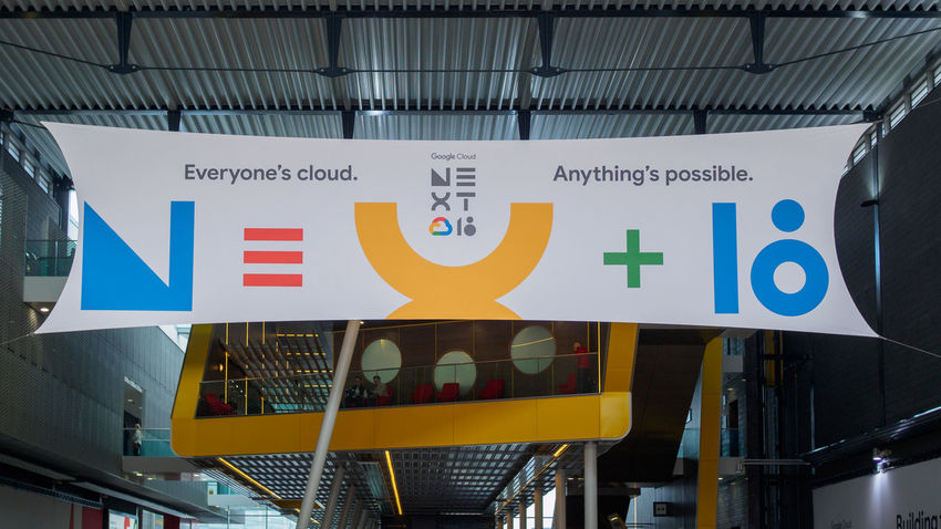Google Cloud Next London '18 banner at the London ExCeL Google Cloud Architecture Banner Built Structure Communication Google Cloud Next London '18 Indoors  London Excel No People Number Sign Text Western Script