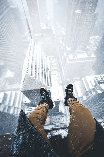 Dangles Low Section Shoe Personal Perspective Human Leg One Person Lifestyles Human Body Part Men Real People Standing Cold Temperature Indoors  Architecture People Adults Only Adult Day One Man Only Ice Skate Rooftop Blizzard Boots Snow ❄ Danger Slippery