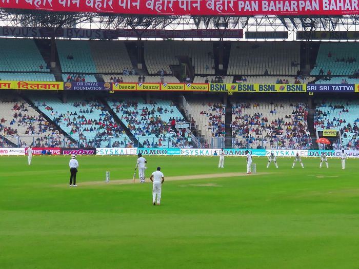 People playing cricket on field