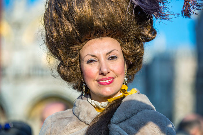 Carnival Carnival In Venice Adult Adults Only Beautiful Woman Carnival Costumes Cheerful Close-up Costumes Day Focus On Foreground Happiness Headshot Lifestyles Looking At Camera Mask One Person One Woman Only One Young Woman Only Outdoors People Portrait Real People Sky Smiling Young Adult Young Women