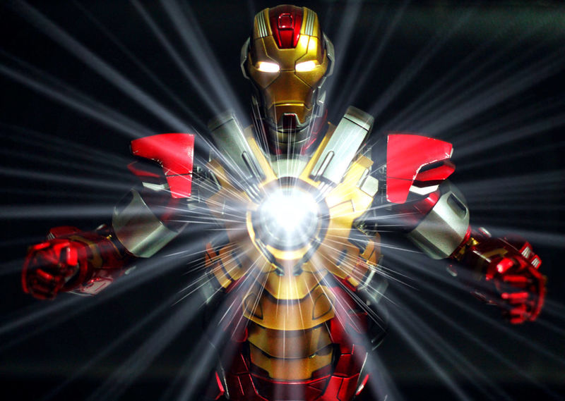 Iron Man Heart Breaker Avengers Toys Actionfigures Arts Culture And Entertainment Figures Futuristic Hottoys Illuminated Indoors  Ironman Light Beam Long Exposure Marvel Multi Colored Night No People Red Studio Shot