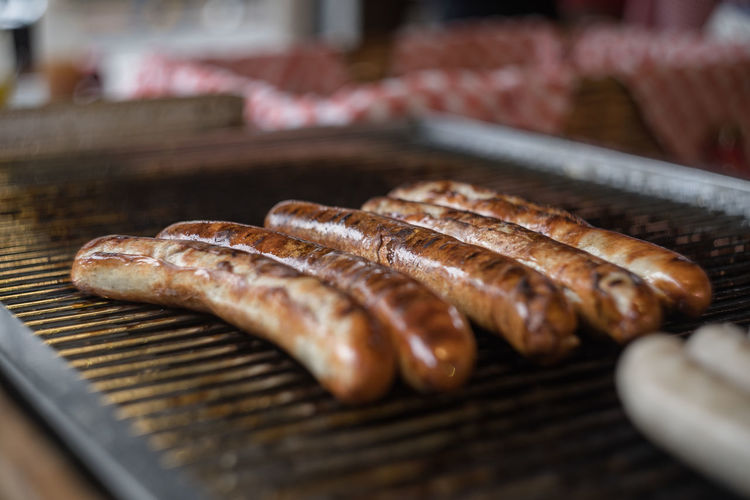 Close-Up Of Sausages On Barbecue At Market For Sale