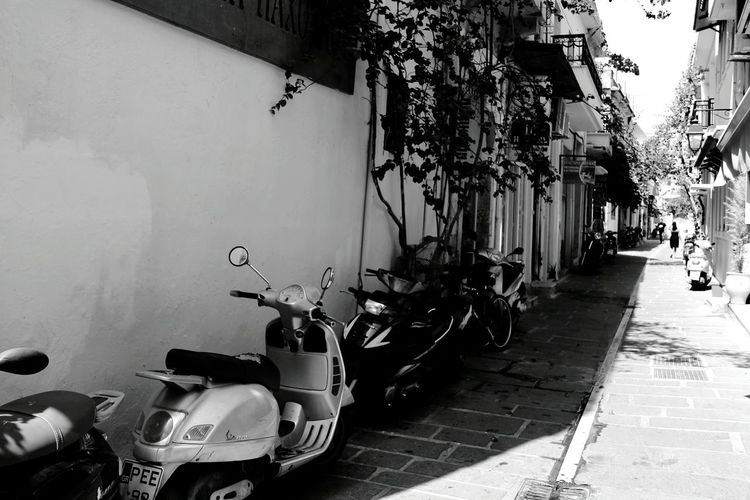 Traveling Summer Greece Black And White Mopeds