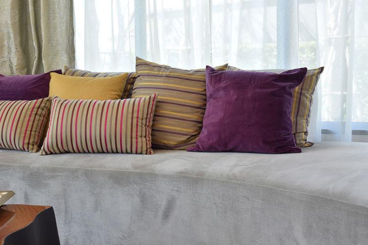 Cushions Arranged On Sofa At Home