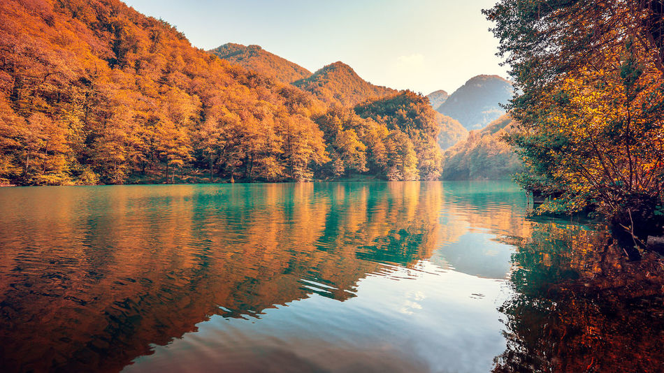 Ancient Autumn Autumn Beauty In Nature Castelnuovo Di Garfagnana Change Colorful Colors Hidden Houses Isola Santa Lake Landscape Multi Colored Nature Outdoors Reflection Scenics Sky Stone Sunset Tree Trees Village Water