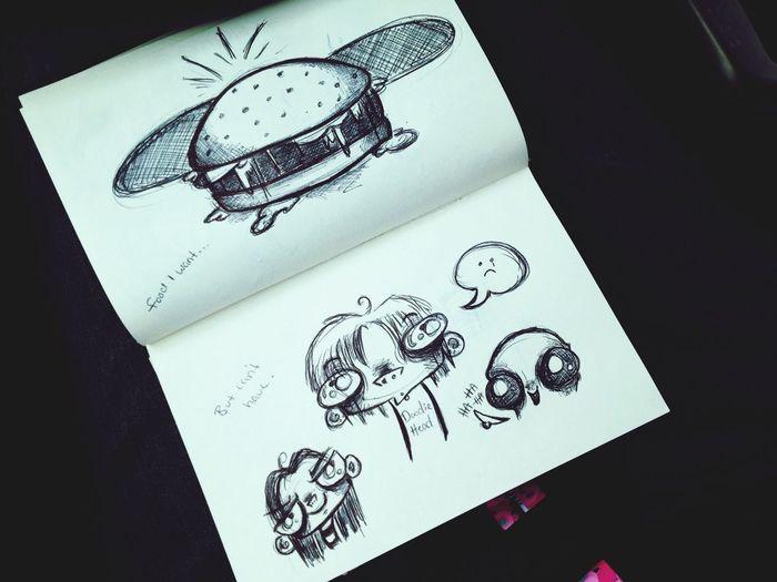 Random work day doodles. Creepy Cute Drawing Doodle Cartoon Art Sketch Ink Ballpoint Pen