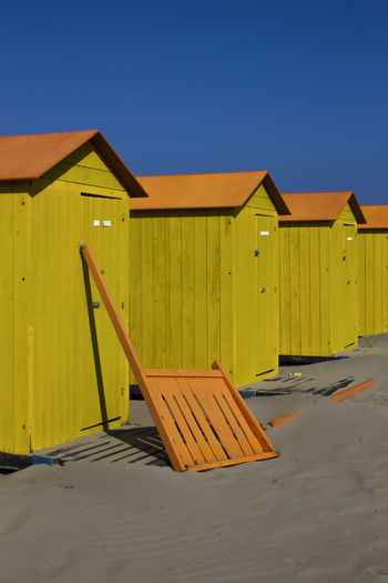 End of summer in Italy. FILIPPI GIULIA PHOTOGRAPHY. Abandoned Abandoned Places Architecture Beach Building Exterior Built Structure Clear Sky Colors Day End Of Summer Italy Nature Nature No People Outdoors Sand Sea Season  Sky Sun Sunlight Sunshine The Secret Spaces Venice Wood - Material