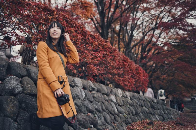 Japan Bokeh Vscocam Nature Snap Streetphotography Light And Shadow Nature Autumn Women Tree Winter One Person Warm Clothing Adult