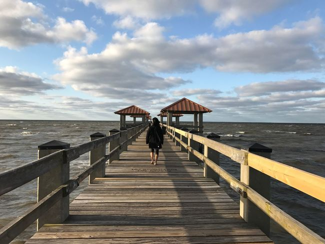 Sea Water Pier Nature Beach Cloud - Sky Sky Beauty In Nature Jetty Railing One Person Day Tranquility Tranquil Scene Full Length Scenics Leisure Activity Outdoors Rear View Travel From My Point Of View EyeEm Nature Lover The Great Outdoors - 2017 EyeEm Awards