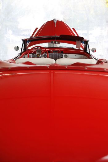 Open hood of an Antique hoping for a buyer in Hershey Pennsylvania. Antique Car Restored Car Vintage Car JGLowe Red Mode Of Transportation Transportation Nautical Vessel No People Nature Sky Outdoors Day Travel Passenger Ship Car Wealth Luxury