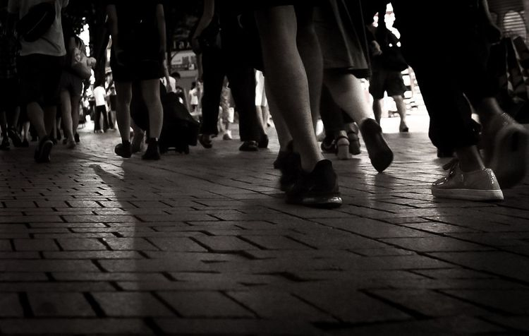 Warking Around From My Point Of View City Night Photography Traffic Jam Low Angle View Crosswalk Sepia Sepia Photography Foot Nightphotography Many People City Low Section Crowd Women Men Human Leg City Sidewalk Footwear Cobblestone Shoe Stone Tile Canvas Shoe