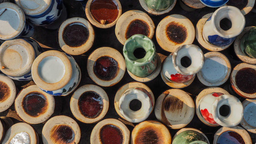 Full frame shot of vases for sale at market