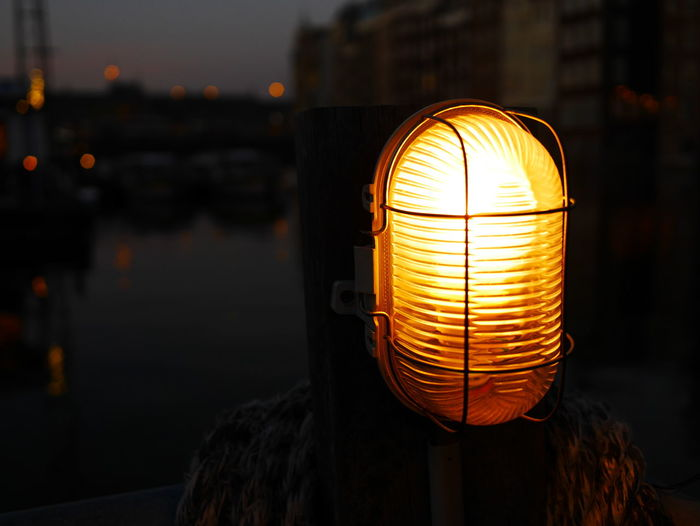 lamp Illuminated City Lantern Lighting Equipment Close-up