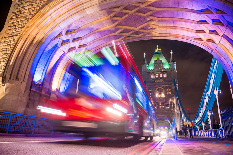 Bus In Motion On Tower Bridge