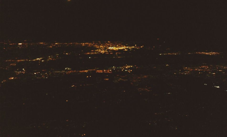 Night Flight Air Travel  From An Airplane Window