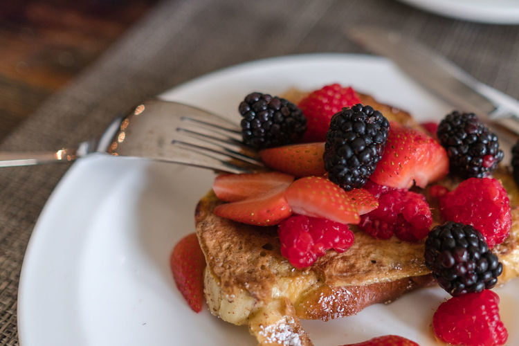 Close-up of french toast and berries