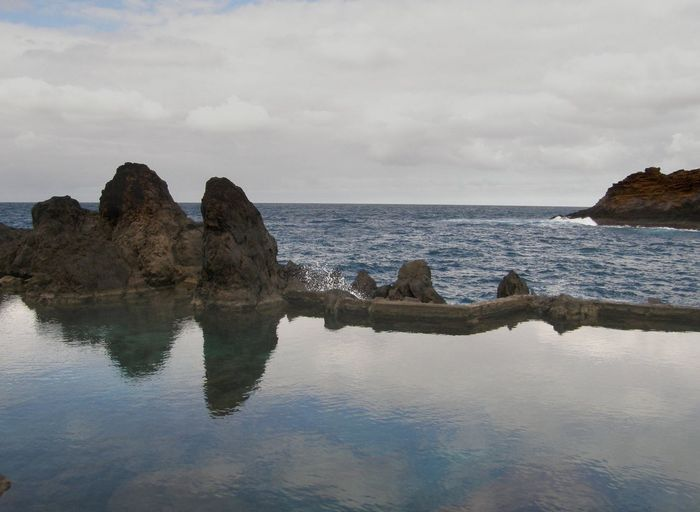 Beach Beauty In Nature Cloud - Sky Day Horizon Over Water Idyllic Nature No People Ocean Outdoors Porto Moniz Madeira Reflection Rock - Object Rock Formation Scenics Sea Sky Tranquil Scene Tranquility Water Travel Destinations