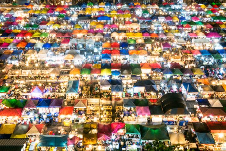 Bangkok Thailand. Market Market Stall Marketplace Multi Colored Night Market Ratchada Nigt Market Spotted In Thailand