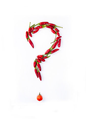 Chili Pepper, Questions Point, Close-up Day Food Food And Drink Freshness Healthy Eating No People Red Studio Shot White Background
