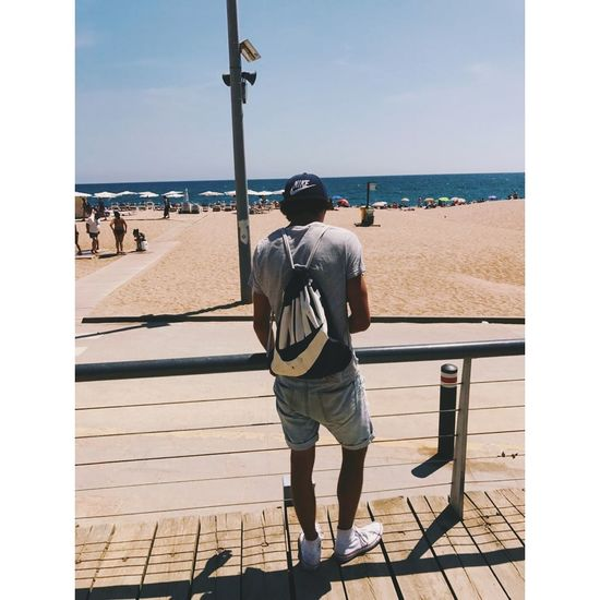 instagram.com/haaarrriiii383 Sea Beach Rear View Only Men Vacations Full Length Sand Adults Only Adult Relaxation Horizon Over Water Casual Clothing Day One Man Only Leisure Activity People Men Outdoors Sky Water