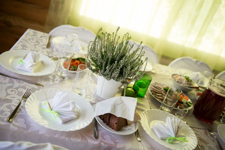 wedding table layout Celebration Celebration Chair Decor Decoration Decorations Decorative Dining Table Flower Flower Pot Food Food And Drink Glasses Heather High Angle View Indoors  Layout No People Place Setting Plate Setting The Table Table Wedding Wedding Reception White