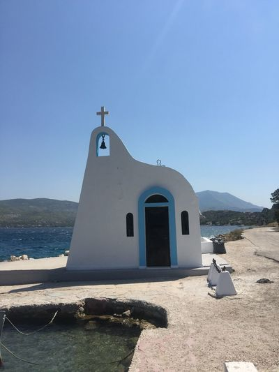 A charm of Greece. (1) Greece Photos Loutraki Religion Spirituality Built Structure Place Of Worship Sunlight Blue Day Sea The Week On EyeEm