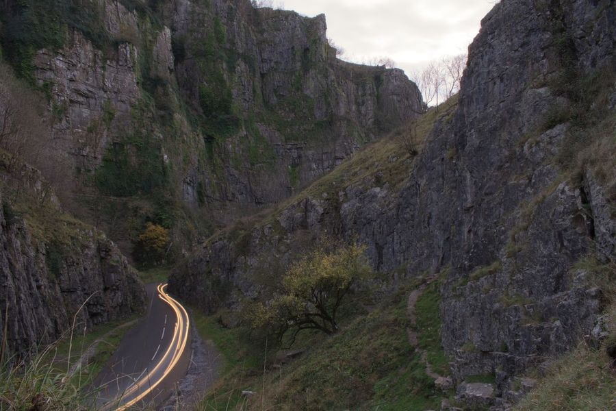 Mountain Nature Road Rock - Object Cliff Day Curve Mountain Road Landscape No People Winding Road Beauty In Nature Outdoors Sky Cheddar Gorge Ravine Gorge Long Exposure