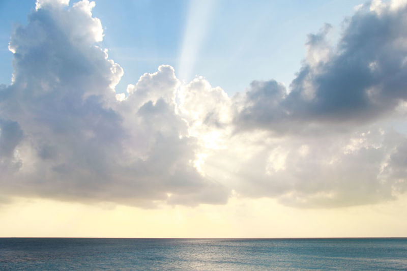 Day No People Heaven Outdoors Sunbeam Tranquil Scene Nature Tranquility Ocean Bright Sun Shining Sun Behind Clouds Sunlight Scenics - Nature Water Beauty In Nature Sea Horizon Horizon Over Water Cloud - Sky Sky Majestic