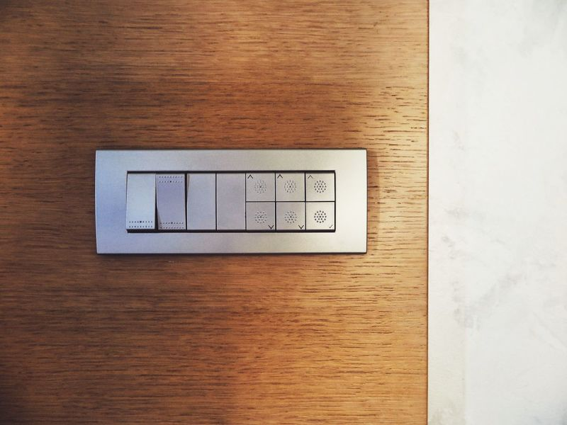 Button Electric Forms Lines Switch Day Electricity  Forms And Shapes Geometric Shape Indoors  Light Switch Lines And Shapes Many No People Silver  Still Life Switches Technology Variation Variety Wood - Material