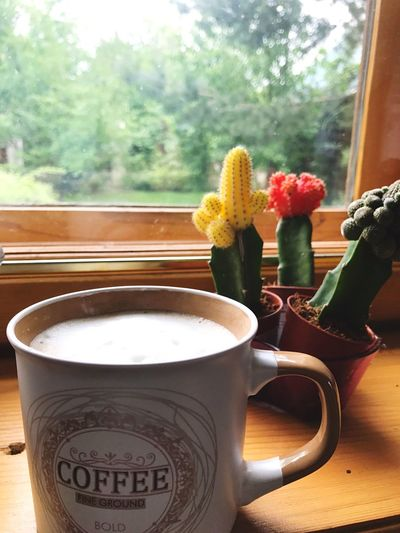Window Sill Table Drink Window Refreshment Flower Indoors  Food And Drink Freshness No People Coffee Cup Day Vase Close-up Frothy Drink Tree Healthy Eating Nature Froth Art Plant Coffee Sommergefühle