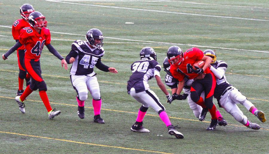 Junior Football in Minoru Park. Richmond B.C. Canada. Headwear Sports Uniform Sport Competition Teamwork Athlete Day Junior Football Richmond BC Togetherness Athlete Uniform Sports Team Challenge