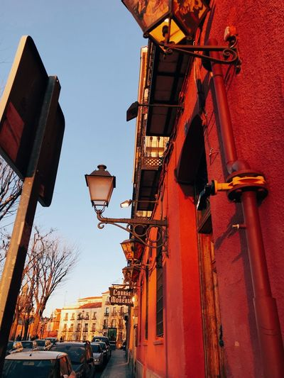 📷 Corral De La Moreria, Madrid, Spain Architecture Madrid SPAIN Building Exterior Low Angle View Architecture Built Structure Lighting Equipment Sky Nature Building No People Day City Clear Sky Street Hanging EyeEmNewHere