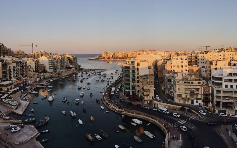 High angle view of malta cityscape