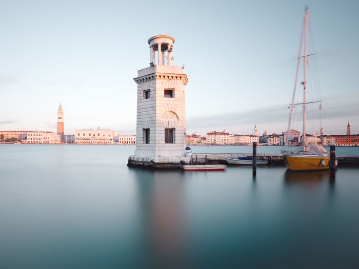 View of lighthouse in city
