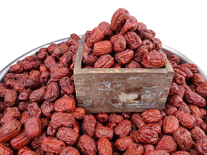 Food Chinese Jujube White Background Close-up Brown Stack Wood - Material Fruit Dried Food Dried Fruit