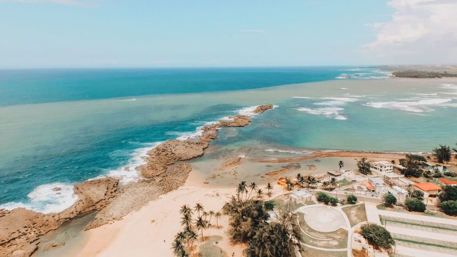 High angle view of beach in puerto rico