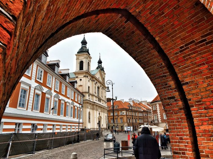 Travel Destinations Architecture Building Exterior Spirituality City Outdoors People Cultures Day Arch Church Bricks Brick Brick Arch Buildings Real People Street Photography Stare Miasto Historical Building Warszawa  Poland Polska Large Group Of People EyeEm Gallery Street