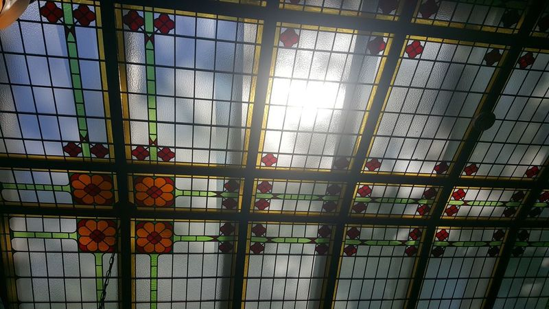 Window Day Indoors  No People Mobile Photography Mobilephotography S6photography Amsterdam Glass Ceiling Pretty Pattern Colourful Light Through Glass Bright Sun Blue Sky Flower Pattern
