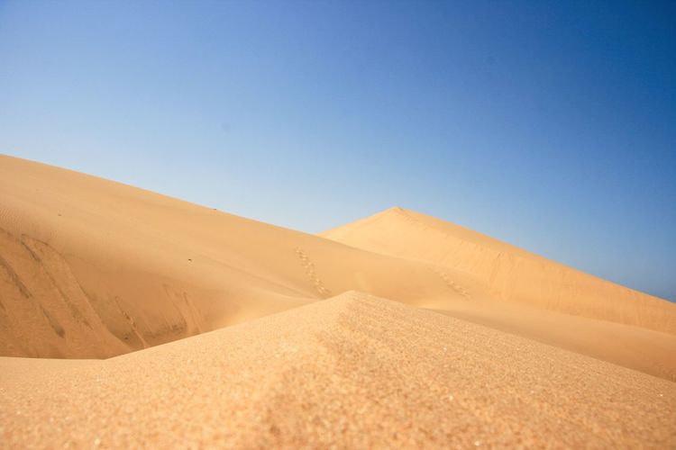 Closeup landscape of sand dunes and patterns in nature along skeleton coast, nambia.