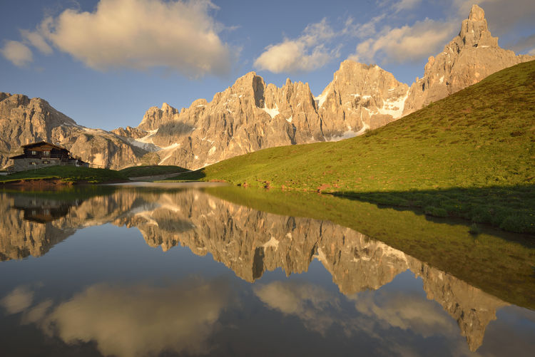 Reflection of mountain peaks on water