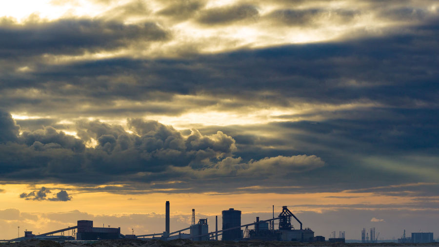 Industrial Industry Moody Sky Sunset Silhouettes Sunset_collection Architecture Building Exterior Built Structure Cloud - Sky Dramatic Sky Industrial Landscapes Moody Redcar Silhouette Sky Sunset Teesside Teesside Steel Uk Urban Skyline