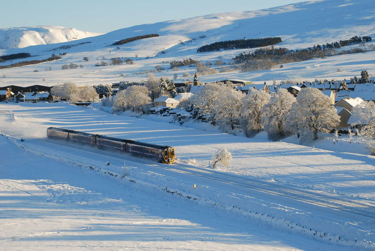 Perthshire, Scotland Beauty In Nature Cold Temperature Day Mountain Nature No People Outdoors Rail Transportation Railway In Winter Scenics Sky Snow Train In Winter Tranquil Scene Tranquility Winter
