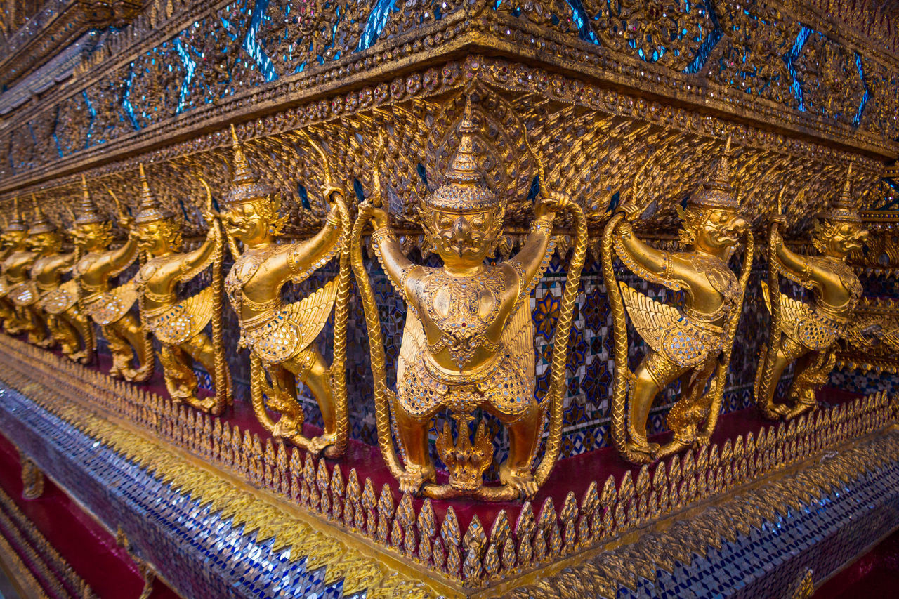 religion, architecture, belief, built structure, spirituality, place of worship, art and craft, representation, building, sculpture, craft, statue, no people, travel destinations, human representation, creativity, history, gold colored, ornate, architecture and art, carving, ancient history
